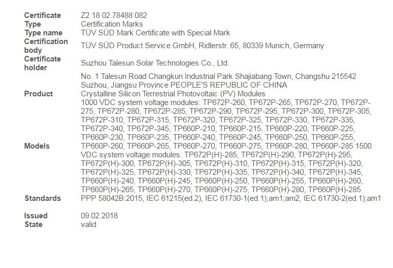 Talesun Solar   TP672P-(325-340W)   Solar Panel Datasheet